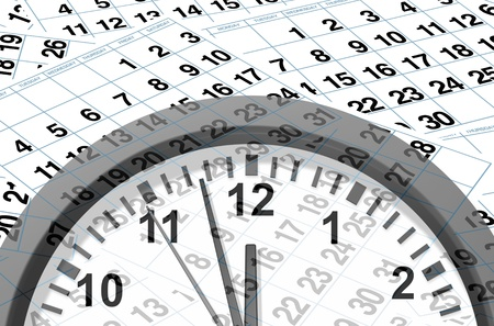 Time and deadlines calendar pages representing time and important dates in a month or days of the week represented by individual pages with numbers and clock ticking away in an urgent manner. Stock Photo - 10455234