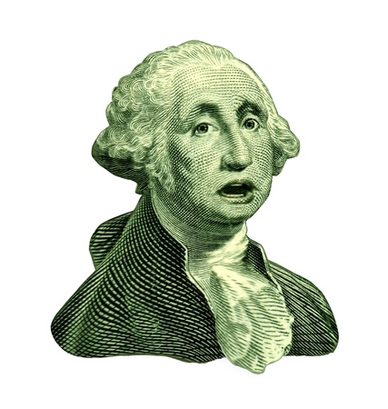 george washington: Dirección del símbolo dólar estadounidense bill con el vendimia retrato de George Washington con un parlante expresion mostrando preocupación por la anterior moneda estadounidense durante una peligrosa recesion y la economía de Estados Unidos.