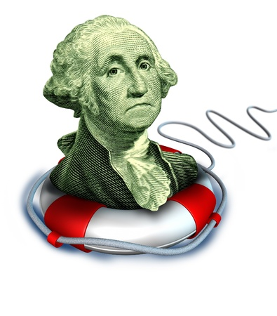 preserver: Drowning dollar bill symbol featuring the vintage portrait of George Washington with a life preserver saving the downgraded American currency during a dangerous recesion and U.S. economy. Stock Photo