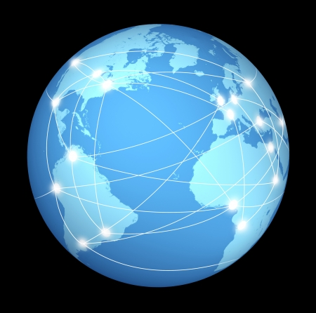 connection: Internet connections and network around the globe represented by a global international sphere on black background showing the communications amongst cities and continents around the world. Stock Photo