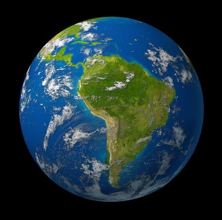 青い海と、黒い背景に雲に囲まれて南アメリカおよびラテン アメリカの国の特徴地球惑星。