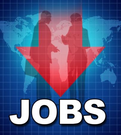 competencias laborales: El desempleo y la falta de puestos de trabajo representado por el s�mbolo de texto y una flecha hacia abajo que muestra la fuerza de trabajo reduciendo y la falta de empleo debido a la mala econom�a. Foto de archivo