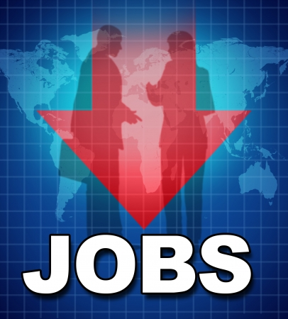 qualifications: Unemployment and lack of jobs symbol represented by text and a downward pointing arrow showing the shrinking work force and lack of employment due to the bad economy.