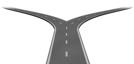 Fork in the road or highway business metaphor representing the concept of a strategic dilemma choosing the right direction to go when facing two eqaual or similar options.