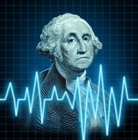 Health of the U.S. economy featuring the vintage portrait of George Washington with a heart monitor ekg graph symbol showing the  American currency during a dangerous recesionin the  U.S.A. 版權商用圖片