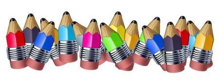 교육의 개념을 쓰기에 사용되는 학교 악기를 보여주는 예술 그리기 미니 연필 멀티 컬러 혼합 연필 테두리입니다.