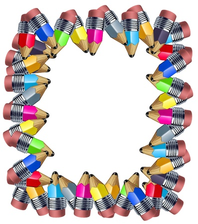 Frame made of pencils with multi color border featuring mini pencils showing the concept of education a school instrument used for writing and drawing art. Stock Photo - 10503702