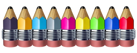 symbol: Multi color pencil border with mini pencils showing the concept of education a school instrument used for writing and drawing art. Stock Photo