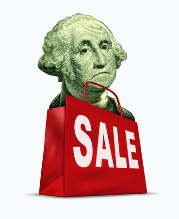 legal tender: Currency on sale caused by the devaluation of the dollar in relation to the world recession  and U.S. economy represented by a vintage character of George Washington in a shopping bag showing bargain prices.