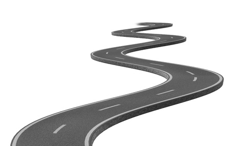 Curved winding asphalt road represented by a single highway on white background representing a clear focused strategic trip to a planned destination and journey.