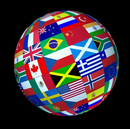 World flags sphere floating on a black background as a symbol representing international global cooperation in the world of business and political affaires. Stock Photo - 10503695