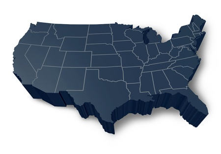 u s: U.S.A 3D map isolated symbol represented by a grey and black dimensional United States.