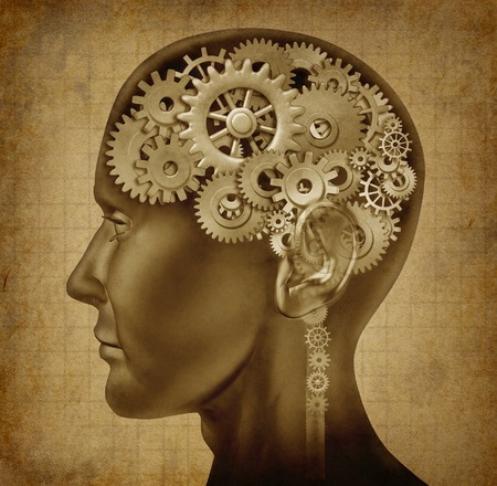gear head: Human intelligence with grunge texture made of cogs and gears representing strategy and psychological mental neurological activity.