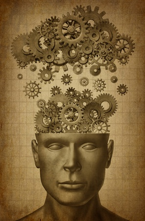 Learn & Lead symbol with grunge texture isolated on white represented by a human head with gears and cogs raining down from a symbolic server representing cloud computing. Banque d'images