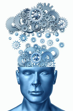 head gear: Learn & Lead symbol isolated on white represented by a human head with gears and cogs raining down from a symbolic server representing cloud computing.