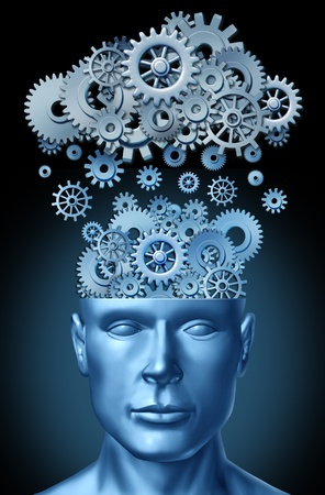 brain function: Cloud computing and education symbol represented by a human head shape with gears and cogs representing the concept of intellectual teaching being transferred and taught to students and faculty of universities and colleges.