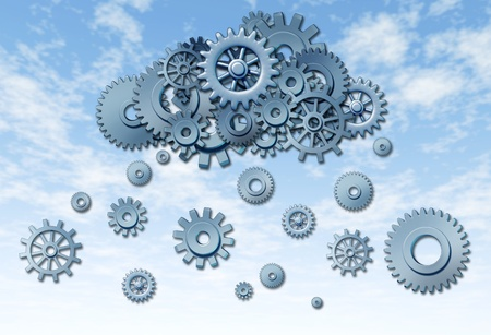 gigabytes: Network cloud computing symbol represented by gears and cogs raining down from the virtual server sky on a blue background. Stock Photo