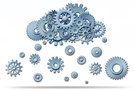 gigabytes: Cloud computing network symbol with a cloud and rain or snow in the form of gears and cogs representing the expansion of the global cloud computing technology.
