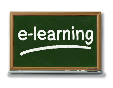 e work: Internet education and e-learning symbol on a school black board with chalk representing education and training through social technology.