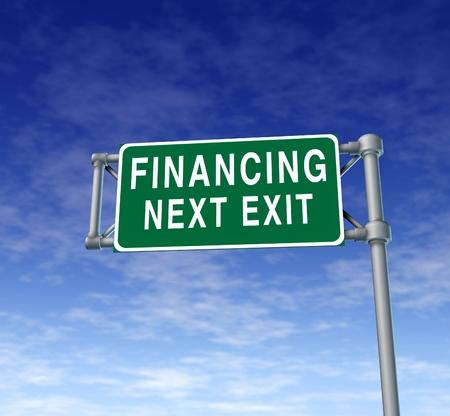 Financiering volgende afrit symbool voor het concept van financiële schuldverlichting door het verstrekken van leningen en geld tegen lage rente, zodat bedrijven en particulieren kunnen aankopen doen. Stockfoto - 10503765