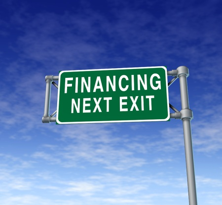 interst: Financing next exit symbol representing the concept of financial debt relief by providing loans and money at low interest rates so companies and individuals can make purchases. Stock Photo