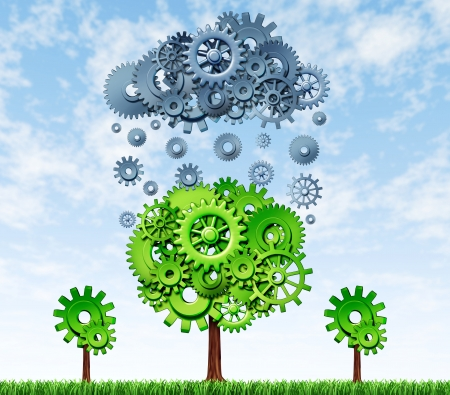 Growing Profits with industrial investing in new rechnologies represented by a green tree and a grey rain cloud made of gears and cogs showing the concept of success and growth of companies that invest in research and development. Stockfoto