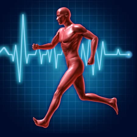 hombres haciendo ejercicio: Ejecución y el símbolo físico representado por un ser humano para correr con una línea de la frecuencia cardíaca la vida del monitor que muestra la vida sana y buena salud cardiovascular. Foto de archivo
