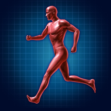 cardiovascular exercising: Running and fitness symbol represented by a jogging human with a heart rate monitor life line showing healthy living and good cardiovascular fitness.