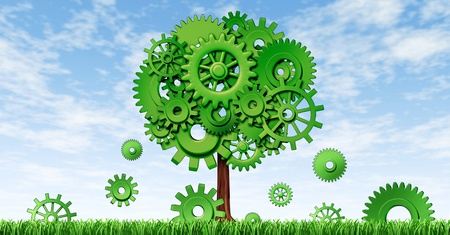 cultivate: New industrial growth in manufacturing and planning for investments and seed money for future opportunities in emerging markets representing growth and prosperity with a green tree made of cogs and gears.