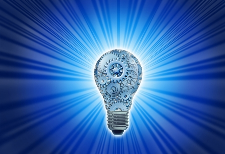 idea: New working ideas and concepts featuring a light bulb with gears and cogs working together as a team representing teamwork and financial planning with strategy on black with radiating light.