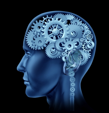 cog: Brain sections made of cogs and gears representing intelligence and psychological mental neurological activity. Stock Photo