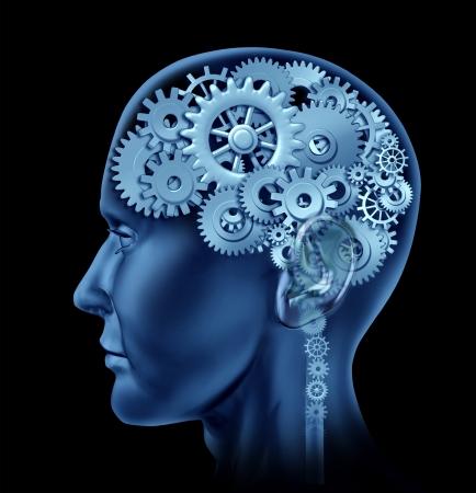 Coupes de cerveau fait des rouages ??et les engrenages qui représente l'intelligence et l'activité mentale psychologiques neurologiques. Banque d'images - 10503758