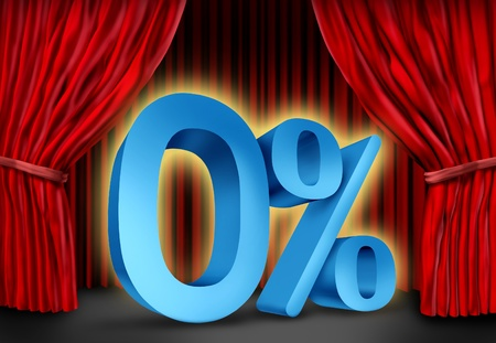 refinancing: Zero percent interest rate symbol on a red velvet curtain stage for the months of the year representing mortgage and bank lending rate and dividend payments related to finances and the business world. Stock Photo