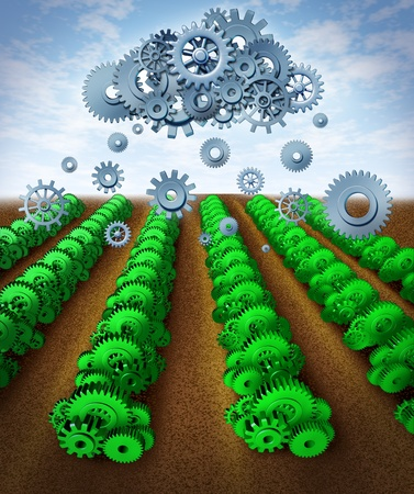 Technology and growth representing success with planning and strategy for business represented by green gears and cogs as crops with a symbol of a cloud raining down data on an agricultural farm
