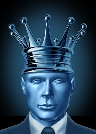 best leadership: Crowning a CEO and leadership symbol represented by a business man with a crown on his head showing the concept of  a powerful leader being named head of a company or industry.