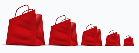 Low sales chart represented by red shopping bags in a downward trend in size from big to small representing the decline and bad economy with lower business profits by selling of goods and services. Stock Photo - 10503731