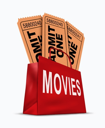 tickets: Movie business box office sales represented by a shopping bag with cinema tickets representing attendance and profits for entertainment.