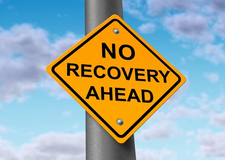 road to recovery: Economy recovery symbol represented by a yellow road sign warning that there will be no improvement in the economic activity of business and that the recession will continue. Stock Photo