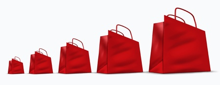 Rising sales chart represented by red shopping bags increasing in size from small  to big representing the improving economy and increase in business profits and selling of goods and services.