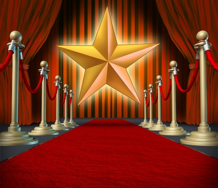 Movie star symbol on a red carpet representing Hollywood premier grand opening. Фото со стока