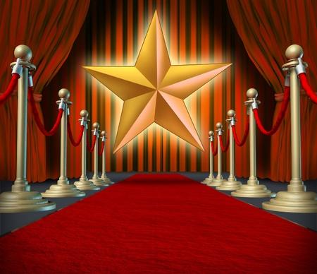 vedette de cin�ma: Symbole star de cin�ma, sur un tapis rouge repr�sentant Hollywood premier grand ouverture. Banque d'images