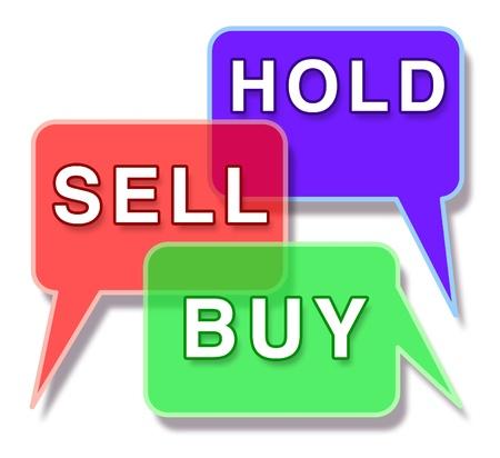 Investeren en de beurs symbool vertegenwoordigd door drie woord bellen met de woorden te houden kopen en verkopen met het concept van de financiële handel in de zakelijke wereld van een aandelen en beleggingsfondsen makelaar. Stockfoto