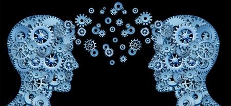 maestra ense�ando: Trabajo en equipo y liderazgo con educaci�n s�mbolo representado por dos cabezas humanas en forma de engranajes y ruedas dentadas que representa el concepto de comunicaci�n intelectual mediante el intercambio de tecnolog�a.