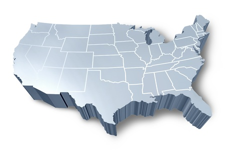 u s: U.S.A 3D map isolated symbol represented by a white and grey dimensional United States.