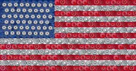 American economy symbol represented by gears and cogs in the shape and color of the flag of the U.S.A. representing industry business and manufacturing working together as a team in the continaental U.S. photo