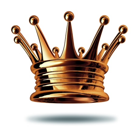 bronzed: Bronze crown award representing third place ranking isolated on white.