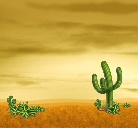Desert sky with cactus plants in a sunset landscape with yellow sky and sand. photo