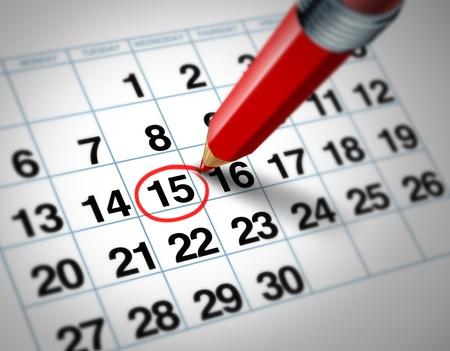 horarios: Establecer una fecha importante en un calendario con un l�piz rojo marcado un d�a del mes que representa la organizaci�n de tiempo y programaci�n. Foto de archivo