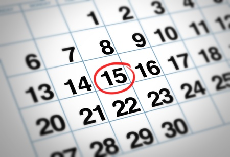 Important date circled on a daily month calendar with a red mark representing planning and strategy for family and business events. Stock Photo - 10542708