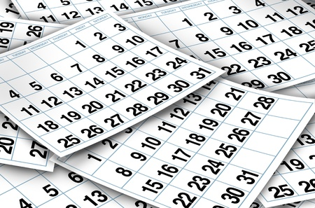 Calendar pages representing time and important dates in a month or days of the week represented by individual pages with numbers. Stock Photo - 10542766